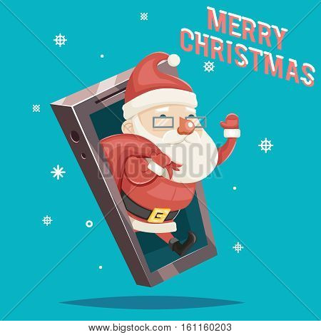 Santa Claus Gift Bag Christmas New Year Greating Gift Card Mobile Phone Cartoon Design Vector Illustration
