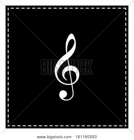 Music Violin Clef Sign. G-clef. Treble Clef. Black Patch On Whit