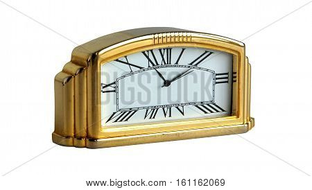 Retro gilded table clock isolated on white background
