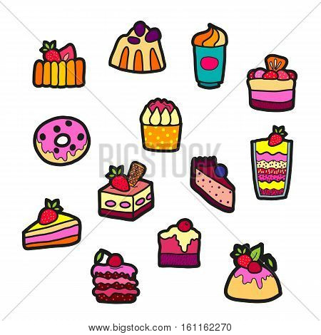 Set of Fashion patch badges with cute sweets - ice cream, pudding, donut, cake, cheesecake. Perfect design for stickers, pins, embroidery patches. Vector illustration isolated on white background.