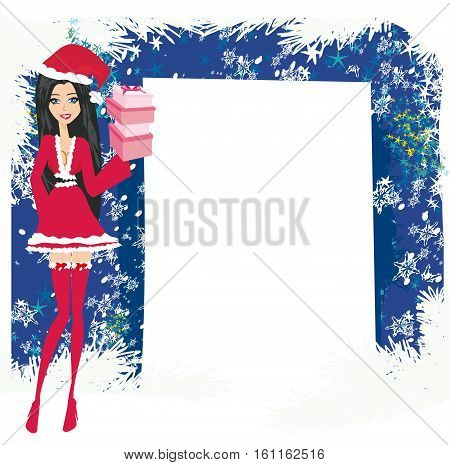 beautiful pin-up girl in Christmas inspired costume , vector illustration