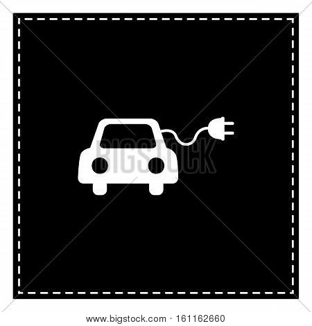 Eco Electric Car Sign. Black Patch On White Background. Isolated