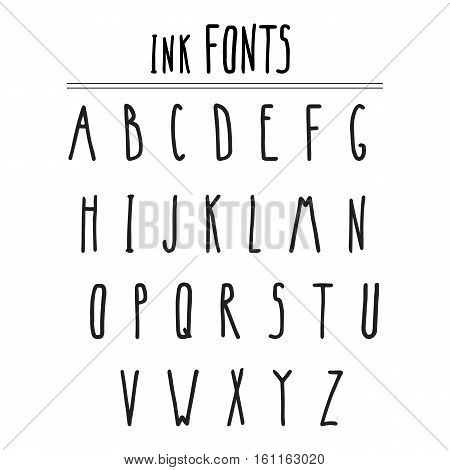 black narrow hand drawn by ink font
