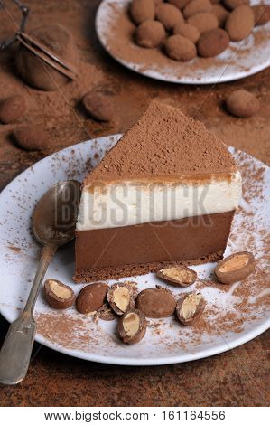 a piece of chocolate with vanilla mousse cake covered cocoa
