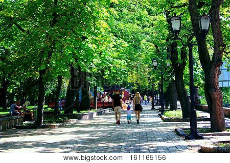 Chernihiv / Ukraine. 28 August 2016: people walk on the wide footpath in the park with big green trees. 28 August 2016 in Chernihiv / Ukraine.