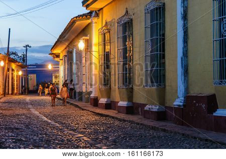 TRINIDAD, CUBA - MARCH 23, 2016: Night scenery on the cobblestone streets in the UNESCO World Heritage old town of Trinidad Cuba