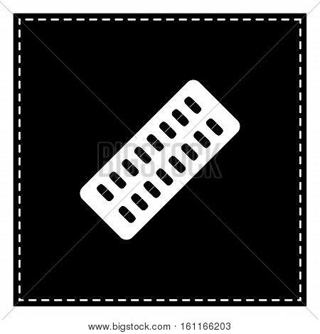 Medical Pills Sign. Black Patch On White Background. Isolated.