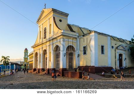 TRINIDAD, CUBA - MARCH 23, 2016: The main church of the UNESCO World Heritage old town of Trinidad Cuba
