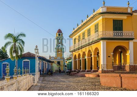 TRINIDAD, CUBA - MARCH 23, 2016: San Francisco Convent and the main square in the UNESCO World Heritage old town of Trinidad Cuba