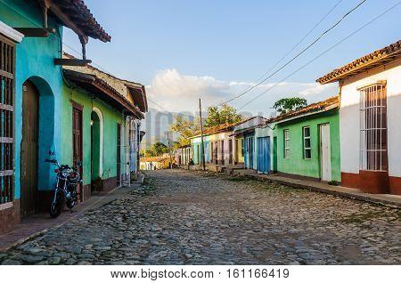 TRINIDAD, CUBA - MARCH 23, 2016: Cobblestone street in the UNESCO World Heritage old town of Trinidad Cuba