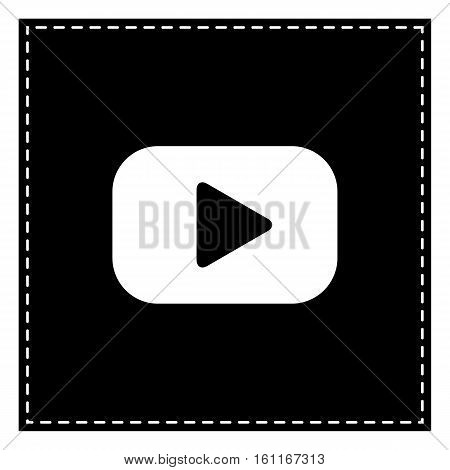 Play Button Sign. Black Patch On White Background. Isolated.