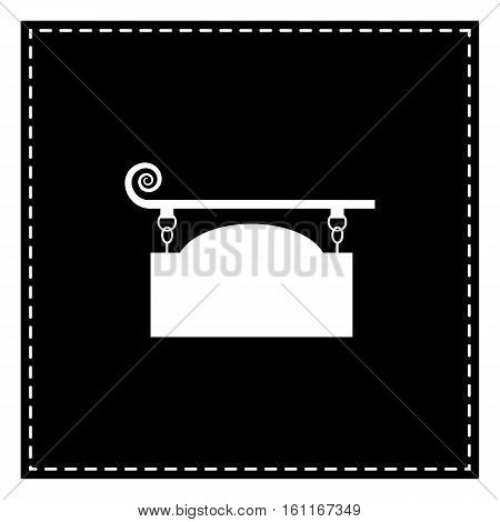 Wrought Iron Sign For Old-fashioned Design. Black Patch On White