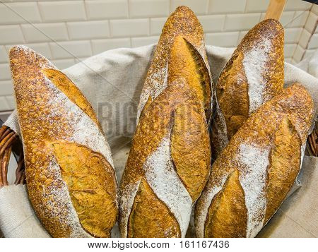 Delicious Bread In A Basket At A Bakery