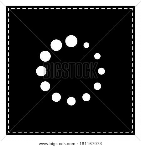 Circular Loading Sign. Black Patch On White Background. Isolated