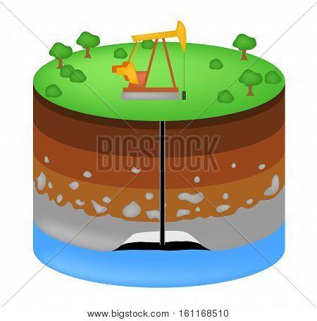 Oil extraction. Conventional drilling . Earth layers structure vector