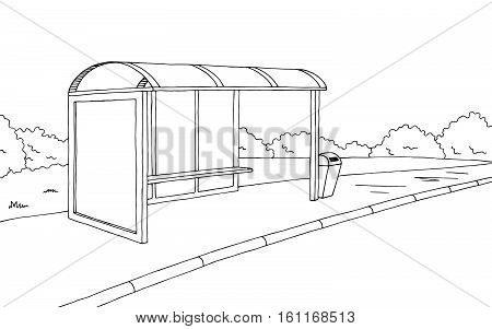 Bus stop graphic black white sketch illustration vector