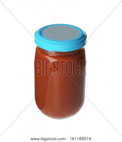Baby puree  in glass jar isolated on white
