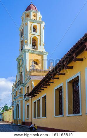 TRINIDAD, CUBA - MARCH 23, 2016: The bell tower of San Francisco Convent in the UNESCO World Heritage old town in Trinidad Cuba