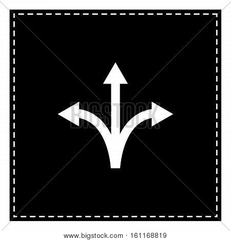 Three-way Direction Arrow Sign. Black Patch On White Background.