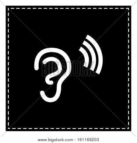 Human Ear Sign. Black Patch On White Background. Isolated.