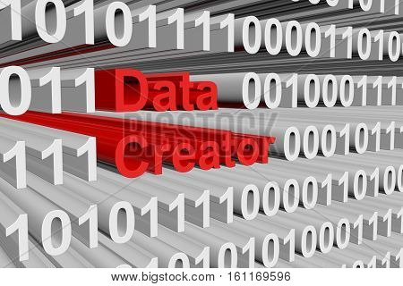 creator data in the form of binary code, 3D illustration