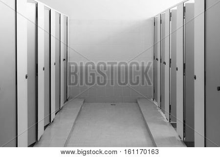 interior of public toilets room black and white tone