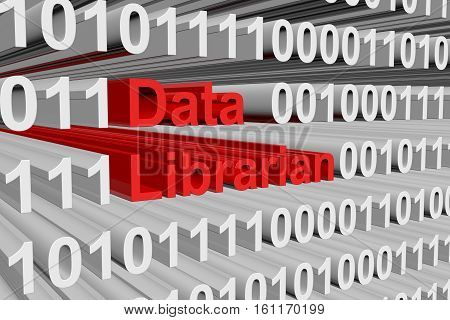 data librarian in the form of binary code, 3D illustration