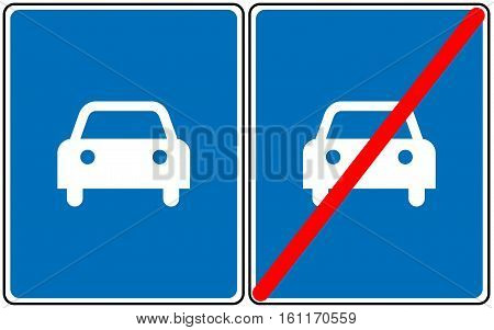 Road for car sign, vector blue symbol. Only car allowed road sign or not allowed. Vector symbols for traffic