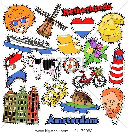 Netherlands Travel Scrapbook Stickers, Patches, Badges for Prints with Clogs, Cheese and Holland Elements. Comic Style Vector Doodle