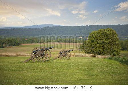 Civil War cannons in field at Antietam (Sharpsburg) battlefield in Maryland