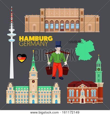 Hamburg Germany Travel Doodle with Hamburg Architecture, Hummel and Flag. Vector illustration