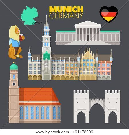 Munich Germany Travel Doodle with Munich Architecture, Lion and Flag. Vector illustration