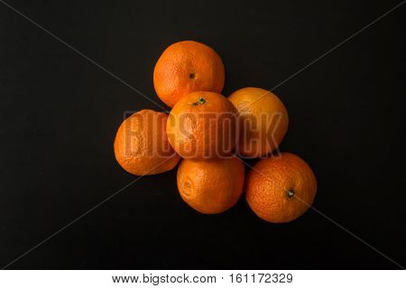 Pile Of Six Clementine Oranges, From Above
