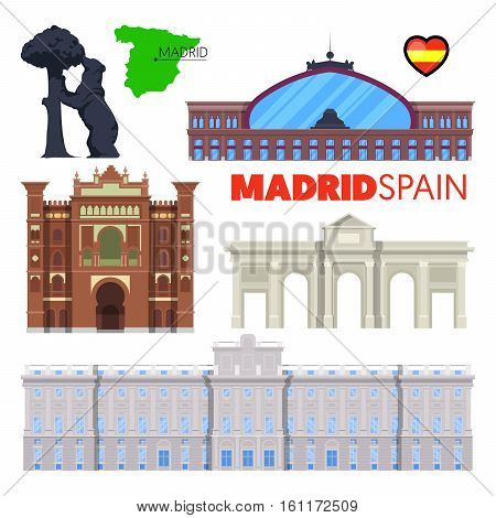 Madrid Spain Travel Doodle with Madrid Architecture, Alcala Gate and Flag. Vector illustration