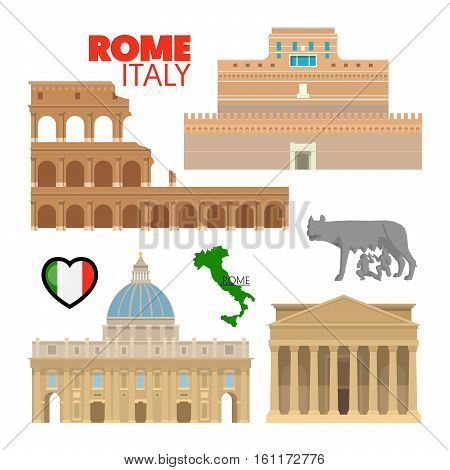 Rome Italy Travel Doodle with Rome Architecture, Capitoline Wolf and Flag. Vector illustration