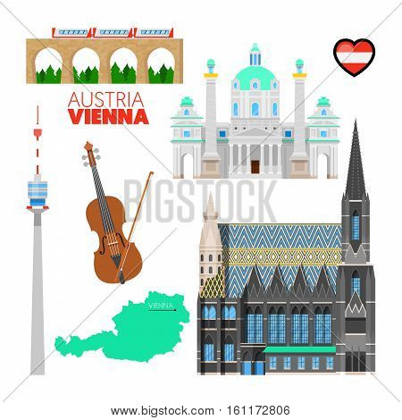 Vienna Austria Travel Doodle with Vienna Architecture, Violin and Flag. Vector illustration