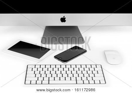 UKRAINE, RIVNE, December 2, 2016. Apple Computer iMac 27 retina display 5K keyboard and magic mouse iphone isolated on a white background