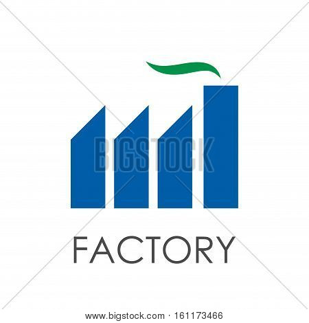 Vector sign modern green factory, isolated on white