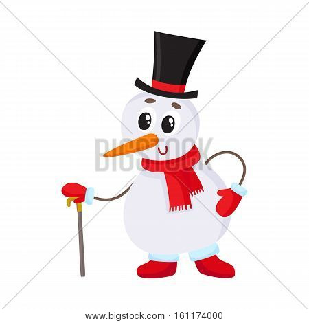 Cute and funny little snowman in cylinder hat leaning on a cane, present, cartoon vector illustration isolated on white background. Funny snowman in black hat with cane, holiday decoration element