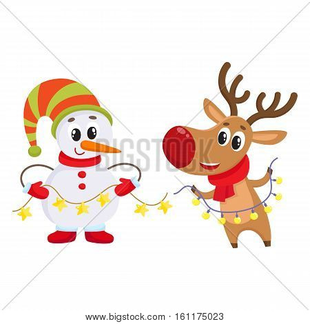 funny reindeer and snowman holding public electronic garlands with light bulbs, cartoon vector illustration isolated on white background. Deer and snowman, Christmas attributes, decoration elements