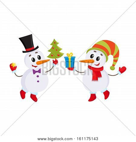two cute snowman holding a Christmas tree and gift box, cartoon vector illustration isolated on white background. Funny snowman in hat, holiday season decoration element