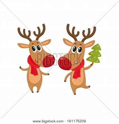 Two Christmas reindeer with a red scarf and green fir tree, cartoon vector illustration isolated on white background. Christmas red nosed deer, holiday decoration element