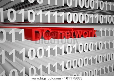 dc network binary code background 3D illustration