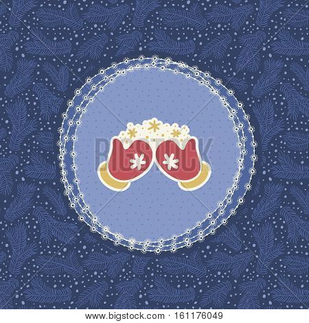 Christmas and New Year vintage ornate frame with snow-clad hands in mittens symbol. Doodle illustration greeting card. Hand drawn background.