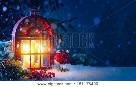 Christmas background with festive decoration and holidays light