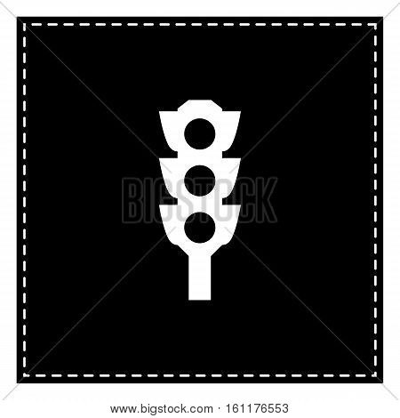Traffic Light Sign. Black Patch On White Background. Isolated.