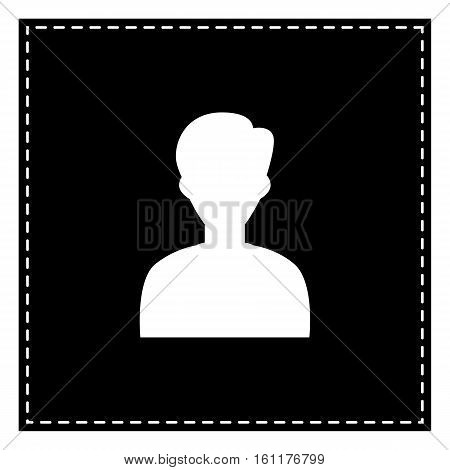 User Avatar Illustration. Anonymous Sign. Black Patch On White B