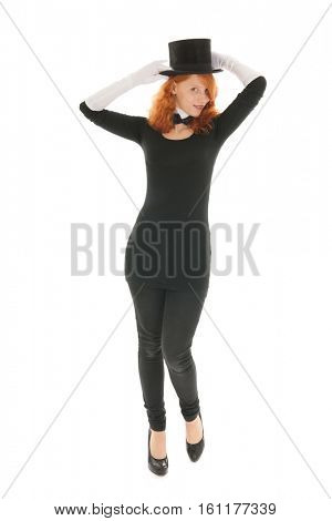 Woman as dandy with black hat and white gloves isolated over white background