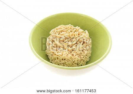 Cup instant noodles isolated over white background