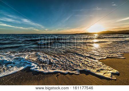 Colorful sunet in Le Bombarde beach Sardinia